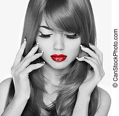 rojo, lips., belleza, moda, mujer, portrait., eyelashas, y, pelo largo