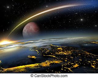 rojo, luna, y, asteroide