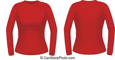 rojo, manga larga, hembra, camisa