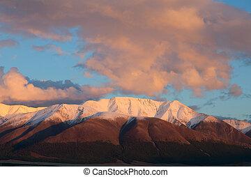 rojo, montaña, en, sunset.