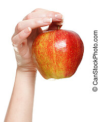 rojo, mujer, manzana, mano, aislado