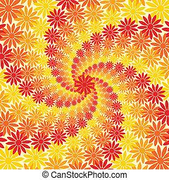 rojo, naranja, y, flor amarilla, remolino, plano de fondo