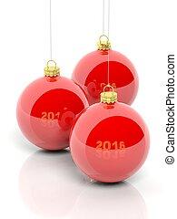 rojo, navidad, pelotas, 2016, aislado, blanco, fondo.