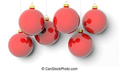 rojo, navidad, pelotas, aislado, blanco, fondo.