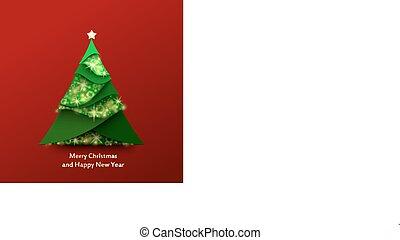 rojo, navidad, plano de fondo, con, árbol de navidad, hecho, de, verde, y, destello, papel
