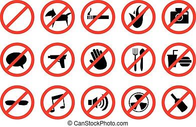 rojo, no, señales, y, anti-, símbolos, para, prohibido,...