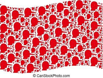 rojo, ondulación, lier, mosaico, iconos, bandera