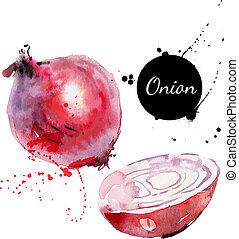 rojo, onion., mano, dibujado, pintura de acuarela, blanco,...