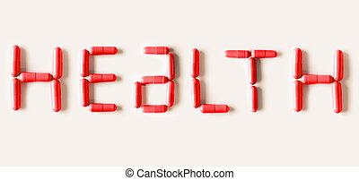 rojo, píldoras, cápsulas, en forma, de, palabra, health., vida, concepto, isolated.