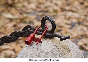 rojo, padlock y cadena