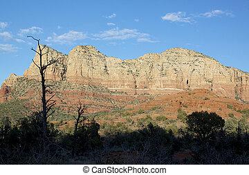 rojo, paisaje, roca