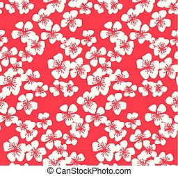 rojo, patrón, con, blanco, sakura, flower.