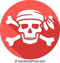 rojo, pirata, cráneo, bandanna