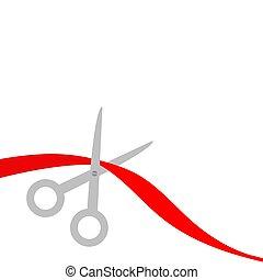 rojo, plano, tijeras, left., corte, diseño, cinta, style.