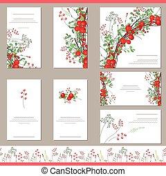 rojo, plantillas, bayas, floral