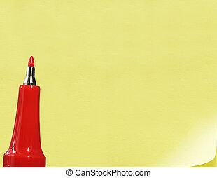 rojo, pluma, en, amarillo, papel