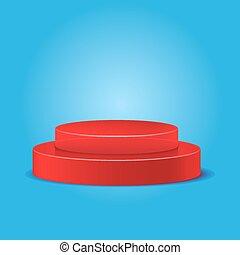 rojo, podio, en, un, fondo azul