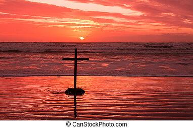 rojo, puesta de sol, cruz