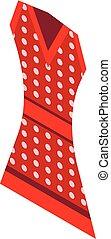 rojo, punteado, vestido, icono, isométrico, estilo