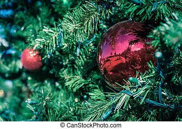 rojo, ramas, filtrado, ahorcadura, ornamento, luz de navidad...