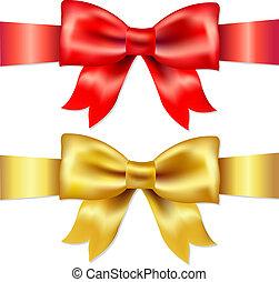 rojo, raso, regalo, arco oro