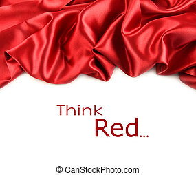 rojo, raso, tela, contra, blanco