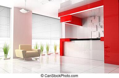 rojo, recepción, en, moderno, hotel