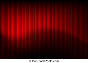 rojo, reflejado, cortinas