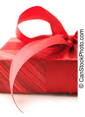 rojo, regalo, primer plano