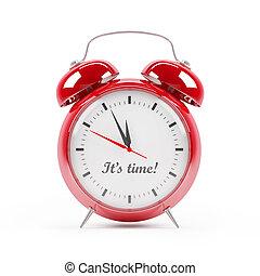 rojo, reloj, alarma