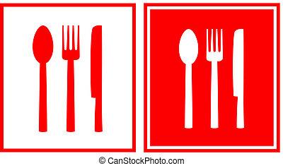 rojo, restaurante, señal, con, cuchara