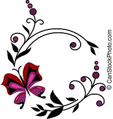 rojo, resumen, flores, con, mariposas, -2