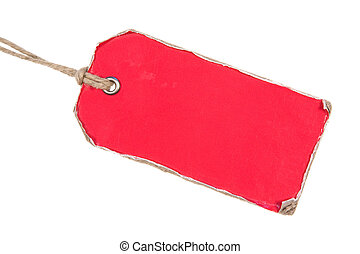 rojo, retro, etiqueta de papel