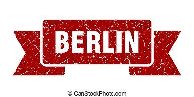 rojo, ribbon., señal, grunge, banda, berlín