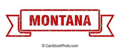 rojo, ribbon., señal, montana, grunge, banda