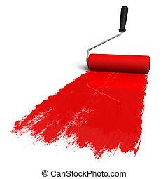 rojo, rodillo, cepillo, con, rastro, de, dolor