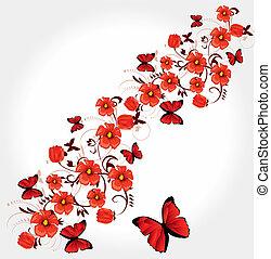 rojo, romántico, tarjeta de felicitación