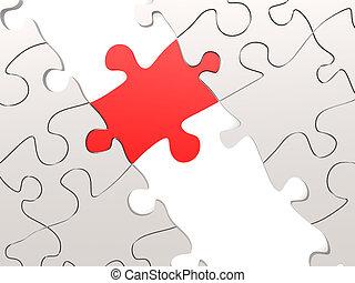 rojo, rompecabezas, como, un, puente, con, un, blanco, partes