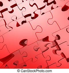 rojo, rompecabezas, con, 3d, efecto