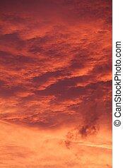 rojo, salida del sol, cloudscape