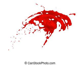 rojo, salpicadura, encima, fondo blanco