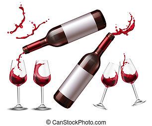 rojo, salpicadura, vino, colección