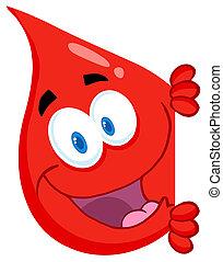 rojo, salto de sangre, el mirar alrededor, un, sig