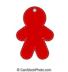 rojo, saludo, nuevo hombre, tarjeta, ilustración, año, o, acción, navidad, vector, galleta, hangtag