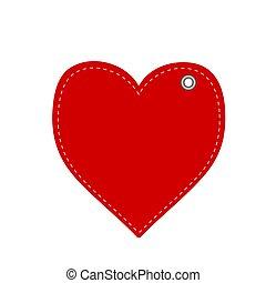 rojo, saludo, nuevo, tarjeta, ilustración, año, corazón, o, acción, navidad, vector, hangtag