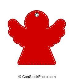 rojo, saludo, nuevo, tarjeta, ilustración, año, o, acción, navidad, ángel, vector, hangtag