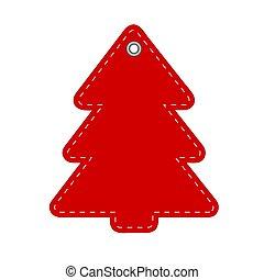 rojo, saludo, nuevo, tarjeta, ilustración, año, o, acción, navidad, vector, árbol, hangtag