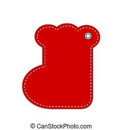 rojo, saludo, nuevo, tarjeta, ilustración, año, o, acción, navidad, vector, calcetín, hangtag