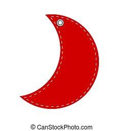 rojo, saludo, nuevo, tarjeta, ilustración, año, o, acción, navidad, vector, luna, hangtag