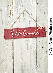 rojo, señal, delante de, un, blanco, pared de madera, -, bienvenida